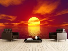 Red Sunset wall mural room setting