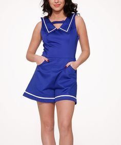 Look at this HEARTS & ROSES LONDON Blue Sailor Romper - Plus Too on #zulily today!