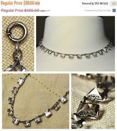 I present to you today a gorgeous Art Deco sterling silver crystal choker necklace! This necklace features princess cut, pointed back, clear