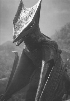 Gyaos takes a break behind the scenes of Gamera vs. Gyaos (1967).