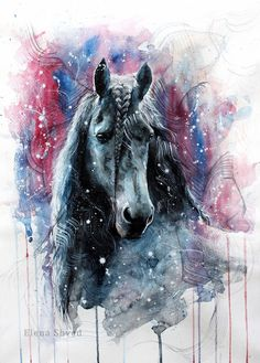 View our website to place order. Take your imagination and creativity to a new level with DIY Paint by Diamond Painting Tag 5 Art lovers here for a chance to get your kit for FREE. Watercolor Paintings Of Animals, Watercolor Horse, Animal Paintings, Watercolor Background, Horse Paintings, Watercolour, Painted Horses, Horse Drawings, Animal Drawings