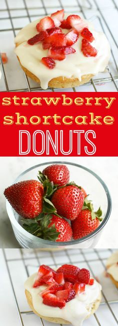 Light and fluffy baked donuts topped with a creamy glaze and fresh strawberries! Perfect for summertime. #donuts