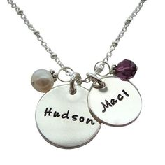 Simple and stylish double charms personalized moms silver necklace is sure to be a favorite. Features two sterling silver charms, hand stamped with names or birth dates.
