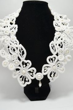 White Perl Wedding Statement Collar Necklace by BeadsGemsFlowers