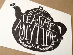 Teatime Hand Carved Art Print. $5.00, via Etsy.