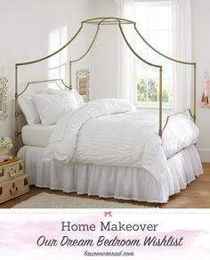 Dream Bedroom Makeover {love this gorgeous canopy bed}