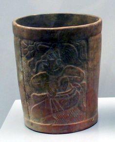 Late Classic Maya cup from El Salvador. 600-900 AD. Item 89/1/51 in the Museum of the Americas, Madrid.