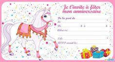 Invitation anniversaire le cheval de la princesse. Un magnifique cheval blanc avec un équipement tout en rose et doré et en arrière plan des petites étoile