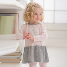 Knitted pink and grey dress – ukookoo Pink And Grey Dress, Pink Grey, Simple Dresses, Beautiful Dresses, Dresses With Sleeves, Long Sleeve Cotton Dress, Cotton Dresses, Cute Little Girls, Baby Wearing