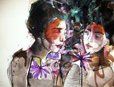 "Saatchi Online Artist: Fotini Hamidieli; Ink 2013 Drawing ""two violets"""