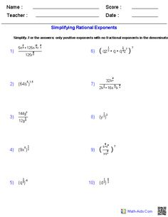 Radical and Rational Exponents Worksheets | Expanding Our Minds ...