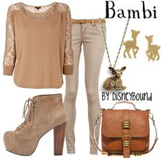 """Bambi"" ~ Inspired by Walt Disney's lovable classic, Bambi, a Fall/Autumn attire that is sure to remind you of your favorite, childhood fawn. Designed by Leslie Kay or also known as the designer of Disneybound outfits. Can be found on Polyvore or her personal shop or  tumblr account."