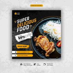 discount graphism Delicious food social me - Food Graphic Design, Food Poster Design, Food Menu Design, Graphic Design Posters, Flyer Design, Social Media Banner, Social Media Design, Menue Design, Instagram Square