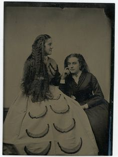 Two Women Sitting Down,One Woman Wearing a Crescent (Watermelon ? Watermelon Dress, Sitting Poses, Vintage Antiques, Women Wear, Black And White, Woman, Best Deals, How To Wear, Image