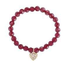 """Baubles, bracelets and beads! Wear your favorite hue or stack multiple for a fun, cool look.FEATURES• Stretch bracelet• Bracelet diameter is 6 7/8"""" unstretchedMATERIALS• Imitation goldtone plating• Plastic (elastic cord)• Glass• Brass• Zinc"""