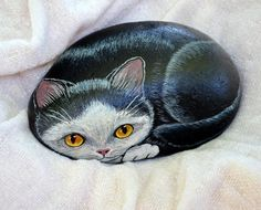 Tuxedo Cat Rock, Hand Painted Stone Art, Cat Painting,Animal Gift, Cat Lover,Painted Stone Cat, 3D Art, Pet Rock, Kitten Painting, Pet Lover