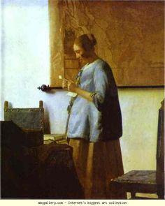 Jan Vermeer. Woman in Blue Reading a Letter. Olga's Gallery.
