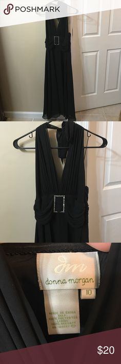 Black halter cocktail dress Black halter cocktail dress with zirconia accent. Halter straps are sheer. Great for weddings, cruise dinners. Donna Morgan Dresses Midi