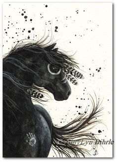 Majestic Horses 38 - Black Friesian War Paint Native Feathers - ArT Prints or ACEO by Bihrle