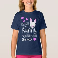 Funny Bunny Rabbit Loves You Graphic T-Shirt - girly gift gifts ideas cyo diy special unique