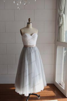 Strapless Ivory Lace Silver Grey Tulle Tea Length Short Wedding Dress/Bridesmaid Dress/Prom Dress by misdress on Etsy https://www.etsy.com/listing/173551039/strapless-ivory-lace-silver-grey-tulle