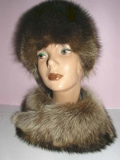 Raccoon fur hat with scarf.