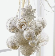 Gorgeous white Christmas decorations: ornaments on ribbon