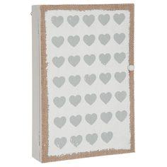 Boite à clés Boîte à Clé Coeur Blanc/Gris Boîte à Clé Coeur Blanc/Gris