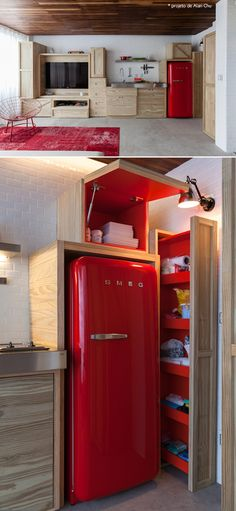 I love that the red in this tiny home kitchen is inside the cabinets, except the frig and the rug. Red fridge and cabinets #decor #kitchen
