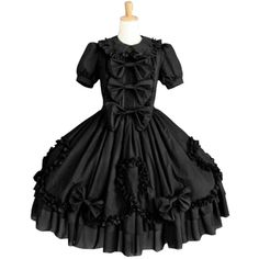 Black Short Sleeves Bow Cotton Gothic Lolita Dress Lolita Clothes (€140) ❤ liked on Polyvore featuring dresses, gothic dresses, short-sleeve dresses, short sleeve dress, gothic lolita dress and gothic clothing dresses