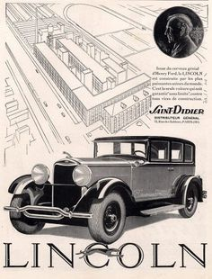 Art Deco Vintage French Ad-Lincoln 1930