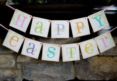 Easter banner Sign HAPPY EASTER wall decor by CowCountryCreations