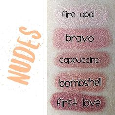 Nude color swatches . . . (Keep in mind, colors will look different on the lips but this gives you a good comparison between colors) #lipcolor#lipsense#senegence#makeup#jointhefun#brightlips#boldlips#purplelips#longlastinglipcolor#becomeadistributor #liplovewithbecky#waterproof#smudgeproff#kissablelips#kissprooflips