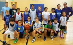 Jewish Community Center's Hoopstars Basketball Camp members — (front, l. to r.) Sam Gordon, Mitchell Spector, Carly Rayman, Chase Kuchman, Trey Jackson, Ben Gruenthal, Maxine Gold, (back, l. to r.) coach Noah Benscher, Evan Richman, junior coach Josh Rayman, Nathan Cicci, Tyler Blanchard, Estefano Cicci, Charlie Hanley, Lauren Olgee, Ahad Ali, junior coach Hunter Magen, and coach Shayna Elkin — dominate the court. Not pictured: coach Marcio Cicci.