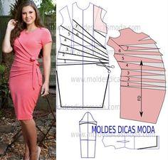 Faça a analise de forma detalhada do desenho do molde do vestido drapeado. Vestido simples e arrojado que veste de forma muito elegante. PASSO A PASSO MOLDE DE VESTIDO DRAPEADO Desenhe o molde base ma
