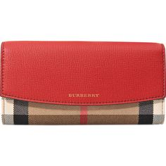 Burberry Porter House Check wallet ($450) ❤ liked on Polyvore featuring bags, wallets, red, checked bag, burberry bags, pocket bag, flap bag and pocket wallet