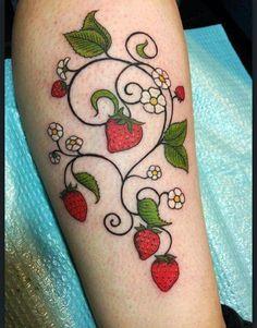 Vine Tattoos, Flower Tattoos, Body Art Tattoos, Tatoos, Watermelon Tattoo, Strawberry Tattoo, Tattoo Bracelet, Tattoo Project, Piercing Tattoo