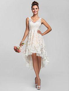 Custom High-low Beach Bridal V-neck Wedding dress Lace Short Bridesmaid Gown