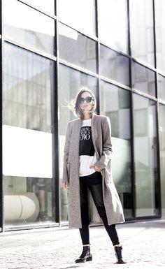 Zoe Jordan coat & trousers, Natalie B Coleman T-shirt, Sigerson Morrison Sunglasses.