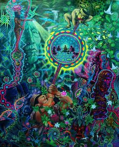 Art pic of the day: Juan Carlos Taminchi - Ayahuasca Community Psychedelic Art, Art Visionnaire, Sacred Plant, Psy Art, Mystique, Lucid Dreaming, Visionary Art, Trance, Spirituality