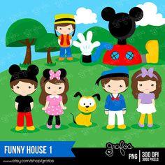FUNNY HOUSE 1 Digital Clipart Imagenes Mickey Mouse / por grafos