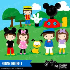 FUNNY HOUSE 1 Digital Clipart  Mickey Mouse Clipart /  by grafos, $5.00