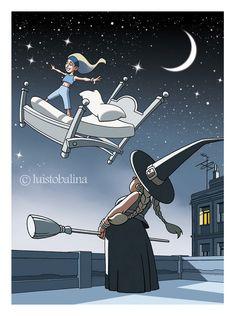 niña y bruja en los tejados