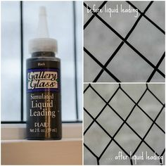 use liquid leading to fill in gaps on a faux leaded glass window, It All Started With Paint on Remodelaholic
