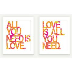 Beatles Art Prints - All You Need Is Love (Typography Art) - Pink Green Orange - 8x10 set of 2