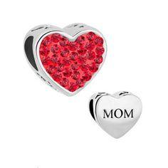Fit Pandora charm bracelets Mom Light Red Crystal Heart Rhinestone Beads Charms Bracelets  beads for jewelry making #Affiliate
