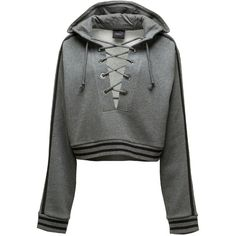 Puma RISING SUN LACING SWEATSHIRT (100.860 CLP) via Polyvore featuring tops, hoodies, sweatshirts, charcoal heather, laced tops, laced up top, lace-up tops, oversized tops y lace front top
