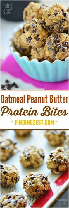 Oatmeal Peanut Butter Protein Bites: Give this no-bake recipe a try! This kid friendly snack has oatmeal, peanut butter, walnuts, honey and chocolate chips.