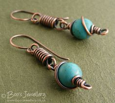 Antiqued copper coiled link earrings with turquoise by BooJewels, £24.00