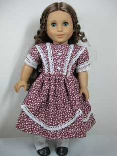 18 inch Doll Clothes American Girl Burgandy Dress for Marie Grace and Cecile